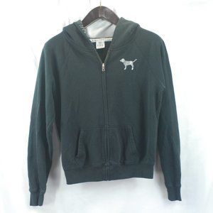 VS Pink Black Full Zip Hoody Sweatshirt sz XS
